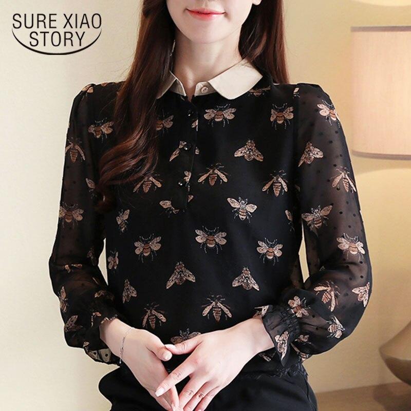 Fashion Korean Clothing 2020 Spring Women Chiffon Blouses Floral Women Long Sleeve Shirt Women Tops Printed Solid Tops 8342 50