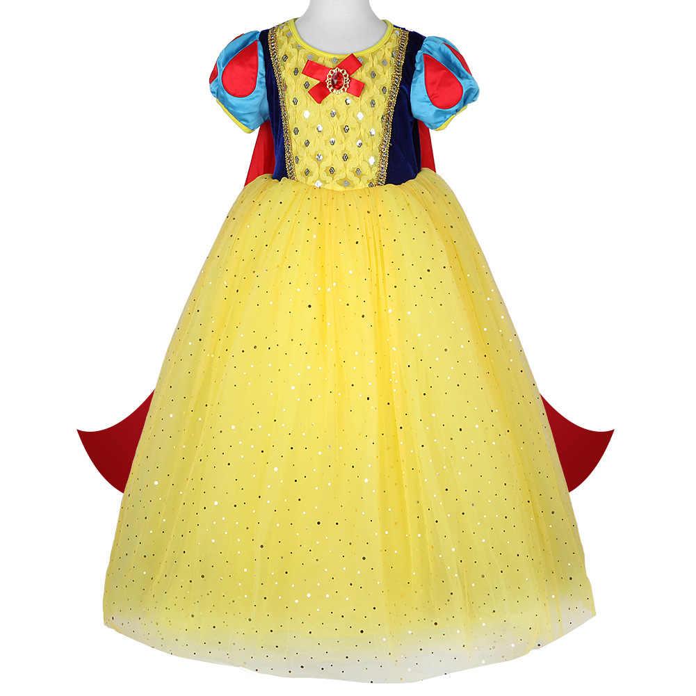 Disney çocuklar kızlar için elbiseler kar beyaz kostüm prenses elbise cadılar bayramı noel partisi Cos çocuk giyim yeni yıl
