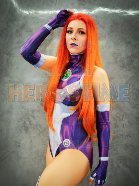 New Style Starfire Teen Titans Printing Superhero Costume Halloween Cosplay Suit