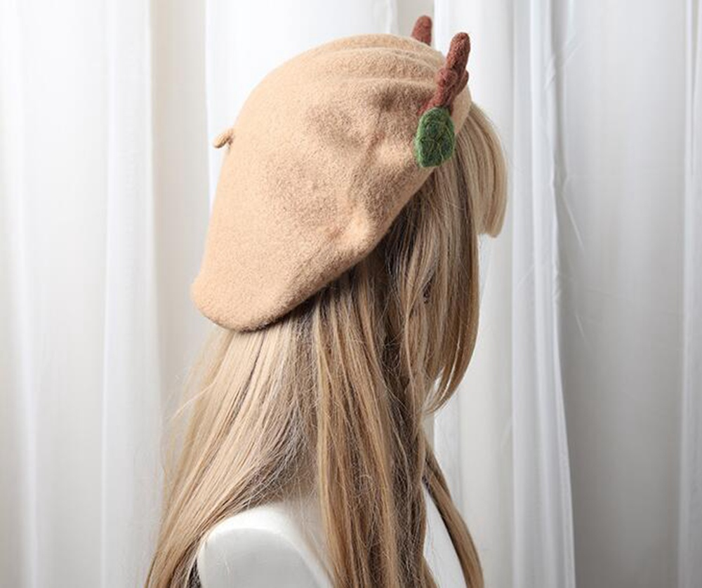 Women/'s Gift. Light Brown Winter Hat Deer Antlers Beret Winter hat Handmade Wool Deer Antlers hat Retro Accessory Christmas Deer Beret