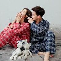Unisex Adult Couple Pajamas Winter Warm Thin Plaid Printing Women Sleepwear Long Sleeve Cotton Home Wear 2 Pieces Pijamas Suit