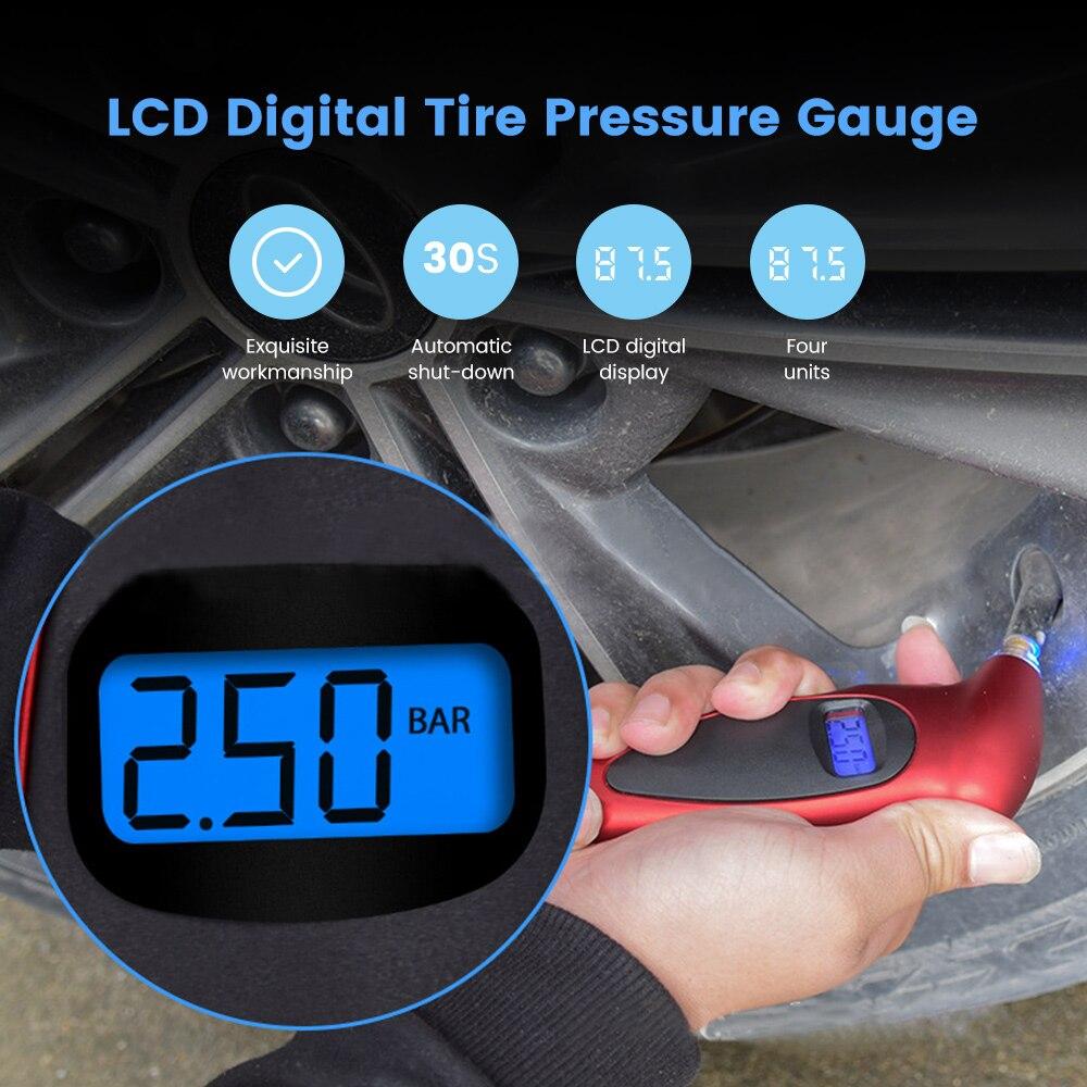LCD Display Car Digital Tire Gauge Portable Tester Tool For Auto Car Motorcycle Truck Car Tire Pressure Gauge PSI KPA BAR