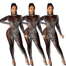 Ecoine womens sexy transparente malha retalhos leopardo impressão macacão festival roupas clube noite festa macacão corpo