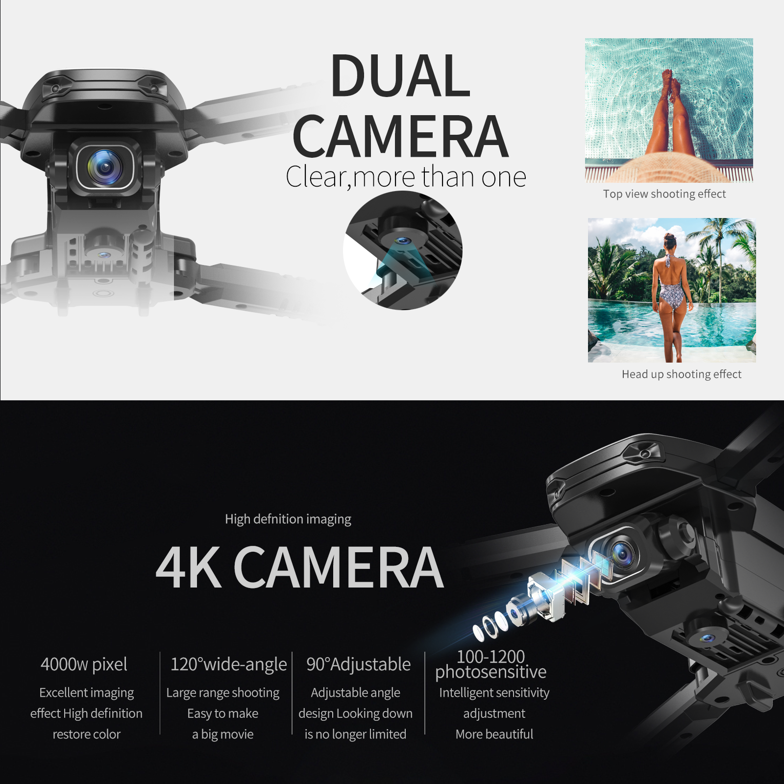 S171 برو FPV طائرات بدون طيار صغيرة 4k HD كاميرا مزدوجة الارتفاع عقد Coreless موتور واي فاي 2.4G أجهزة الاستقبال عن بعد طوي بدون طيار كاميرات بدون طيار