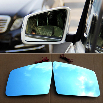 blue glass wide angle view led turn signal anti dazzle heated side rear view mirror glass for mercedes benz X166 GL 500 350 450