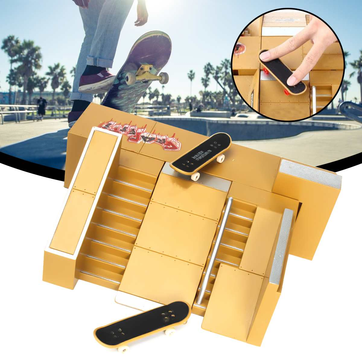 Finger Board Park Skate Park Ramp Kits Skateboard Tricks Fingers Training Props Games Children Sport Toy Fingerboard Kids Gifts