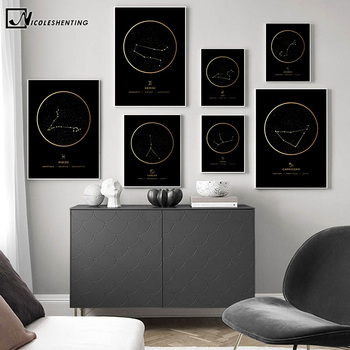Constellation Fashion Poster Zodiac Astronomy Wall Art Nursery Print Canvas Painting Nordic Kid Decoration Picture Home Decor