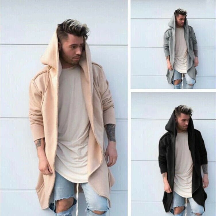 Fashion Men Cardigan Hooded Long Cloak Cape Coat Jacket Trench Overcoat Outwear Male Autumn Clothing