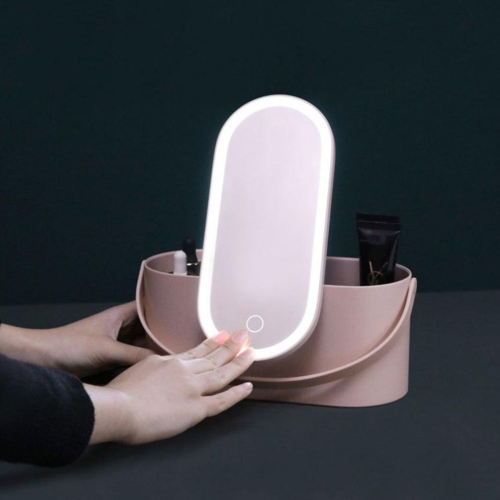 Étuis à cosmétiques multifonctions miroir de maquillage à LED coiffeuse Portable boîtes de finition outils de maquillage