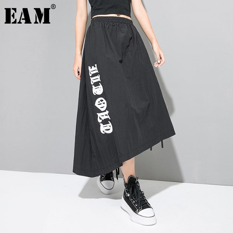 [EAM] High Elastic Waist Black Bandage Print Asymmetric Half-body Skirt Black Women Fashion Tide New Spring Autumn 2019 1A314