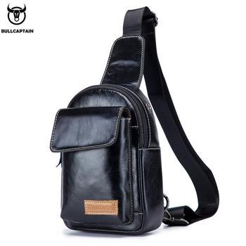 BULLCAPTAIN2019 New Chest Bag Men's Leather Messenger Bag Men's Leather Chest Messenger Bag Men's Quality Bag