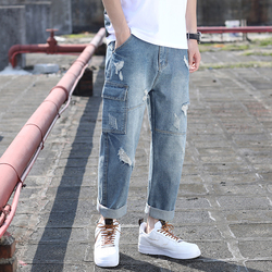 Hole Jeans Men Fashion Washed Solid Color Casual Harlan Denim Trousers Men Streetwear Hip Hop Loose Tooling Jeans Male Clothes