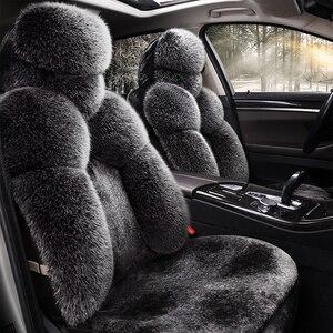 Image 2 - 車のシートクッションのオーストラリア羊毛クッション新豪華な車のマット冬のシートクッション毛皮のシートカバー