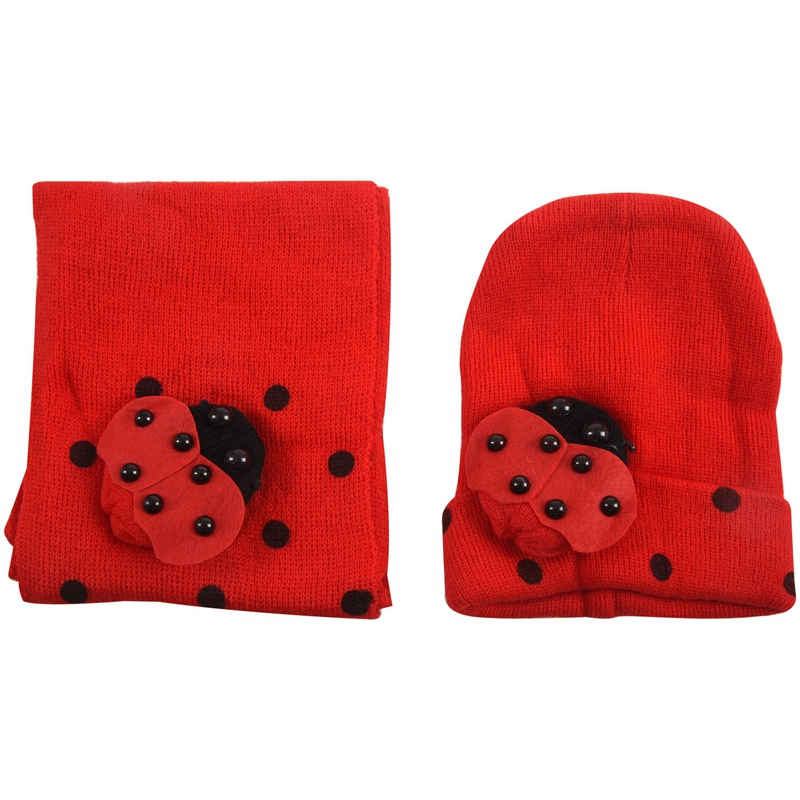 NEW-Red Baby Boy Girl Toddler Winter Ladybird Ladybug Hat And Scarf Set