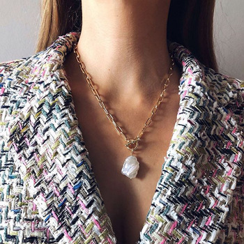 цена на Real Baroque Natural Fresh Water Pearl Tassel T Bar Pendant Necklace For Women Hip Hop Choker Wedding Party Charm Jewelry