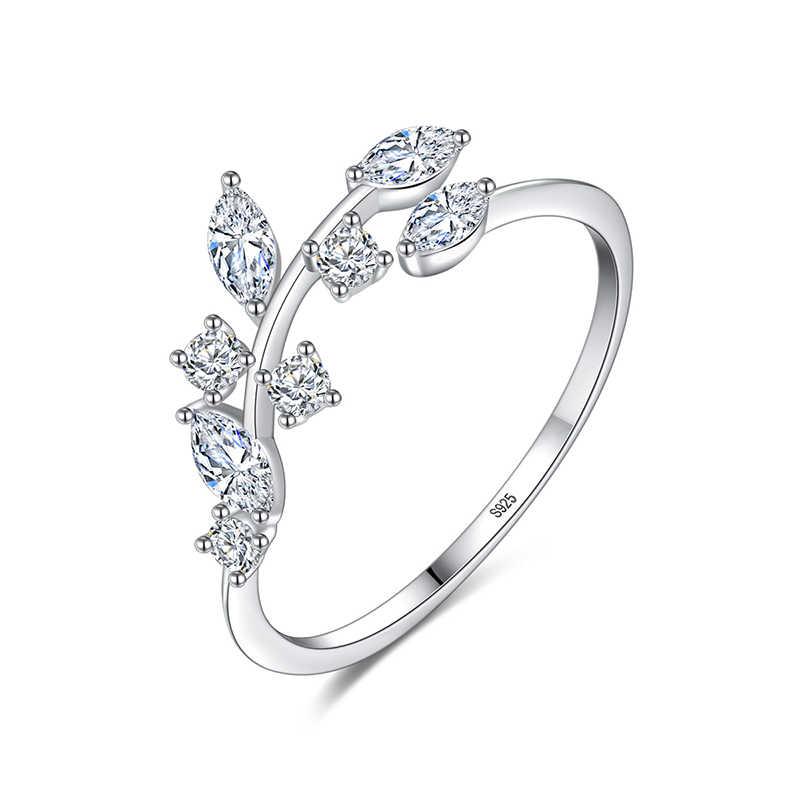 Fenchen coréen 925 argent Sterling fait à la main anneaux de feuille d'olivier pour les femmes fiançailles mariage bijoux fins ouvert Anillos cadeau AR123