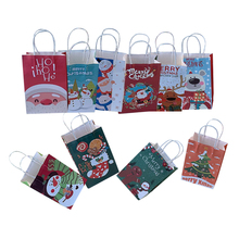 10pcs/lot 21x13x8cm Kawaii Christmas Series Paper Bag With Handles Decoration DIY Multifunction Gift