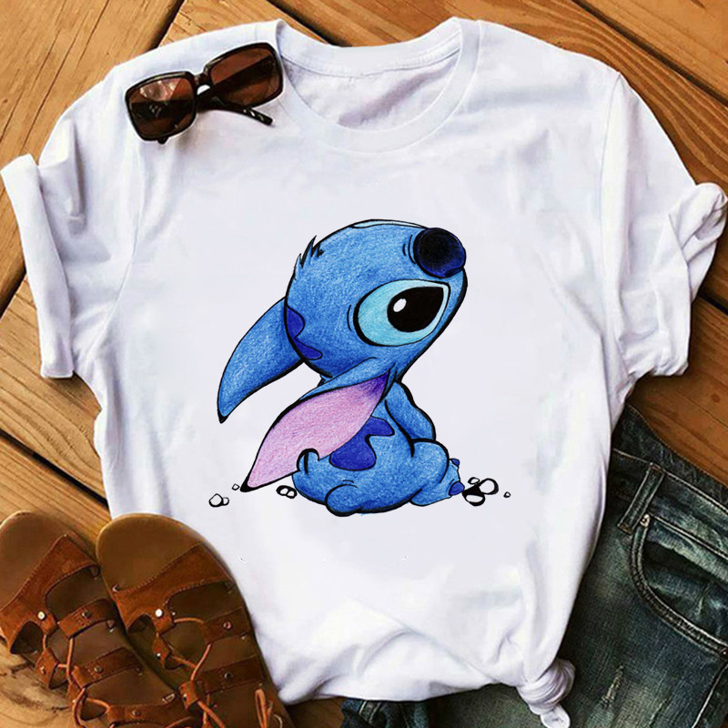 FIXSYS Stitch Women's Fashion   T  -  Shirt   Cartoon Harajuku Kawaii Tshirts Female Cute Printed Casual   T     Shirt   Casual Tops Tee