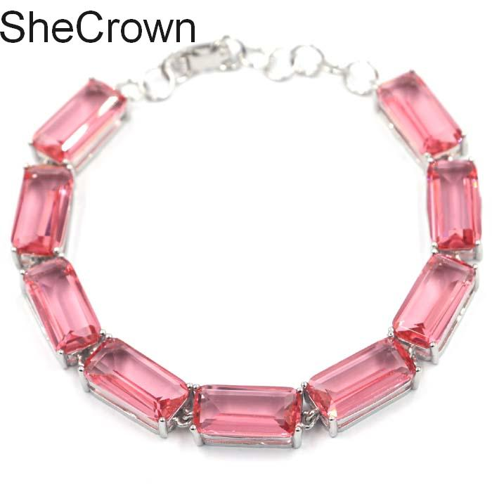 Classic Rectangle Pink Morganite Ladies Wedding Silver Bracelet 7 0 7 5in 16x8mm in Bracelets Bangles from Jewelry Accessories