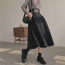 Fashion Vintage A-Line Woolen Skirts High Waist Be