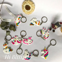 Wedding Decoration Cute color unicorn Rubber Keychain Unicorn Birthday Party Baby Shower Decorations Kids Event Supplies