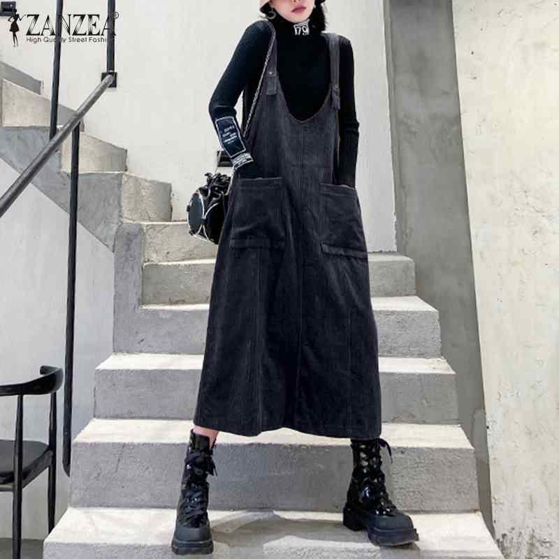 2020 Plus rozmiar ZANZEA wiosna szelki sztruks Sundress kobiety dorywczo stałe bez rękawów pracy kombinezony sukienka Femme Vestidos