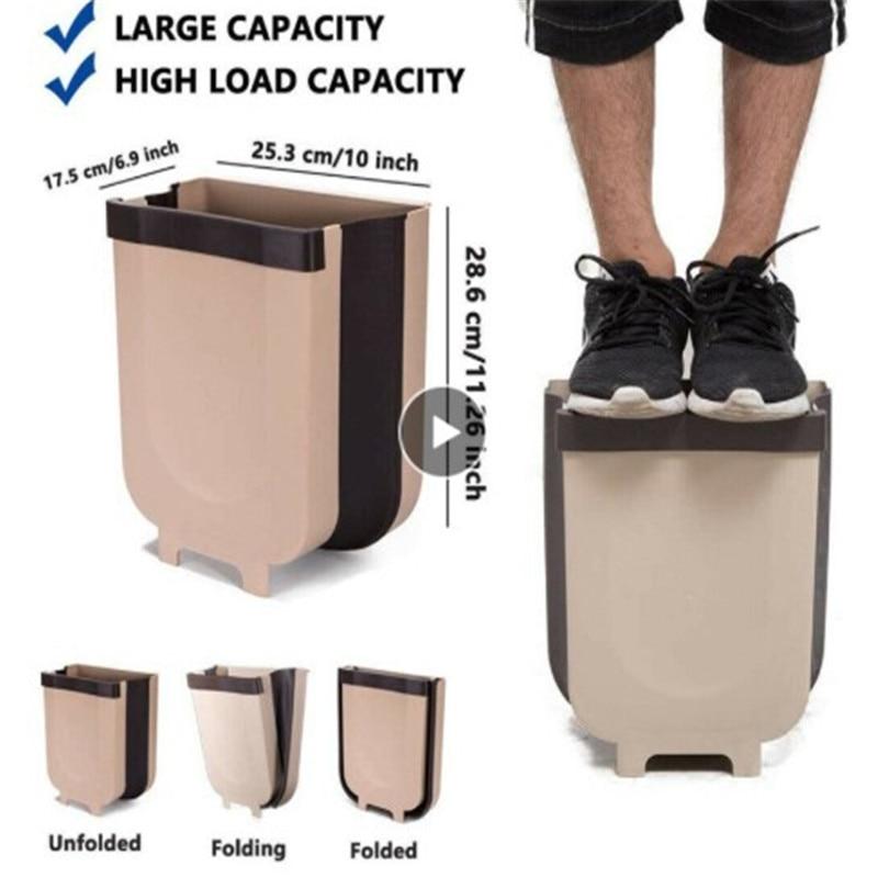 Sale Waste Bin Hanging Large Trash Cabinet Door Toilet Waste Storage Wall Mounted Folding Bathroom Trash Can Kitchen Foldable