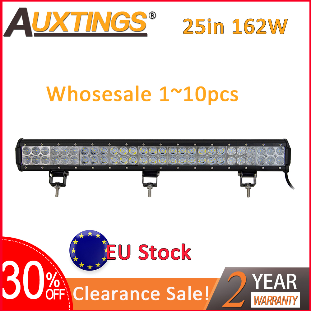 Auxtings 1~10pcs 25inch 12V 24V offroad led light bar Spot Flood Combo 25'' 162W led Work Light for Jeep Car 4WD Truck SUV ATV