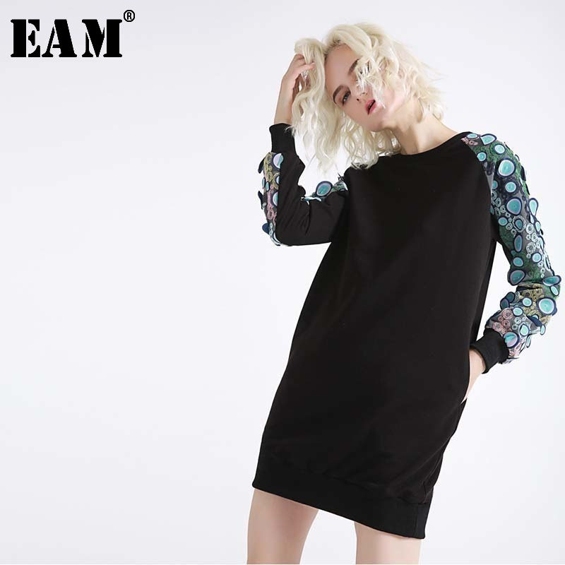 [EAM] Women Black Three-dimensional Patch Split Dress New Round Neck Long Sleeve Loose Fit Fashion Tide Spring Autumn 2020 JH332
