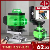 Trípode de nivel láser de 16 líneas verdes 4D con autonivelación 360 Cruz Horizontal y vertical haz láser potente para exteriores de alta precisión
