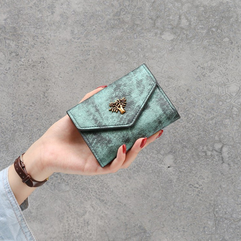Vintage Women Mini Wallet Leather Short Wallet Hasp Female Small Wallet Coin Purse Card Holder Green Wallet For Ladies Money Bag