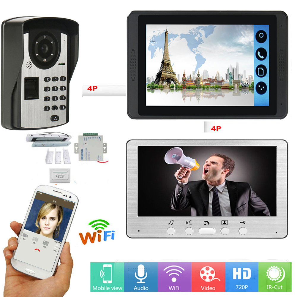 Fingerprint Password Unlock Video Intercom 7 Inch LCD Wifi Wireless Video Door Phone Doorbell Visual Intercom System+ Door Lock