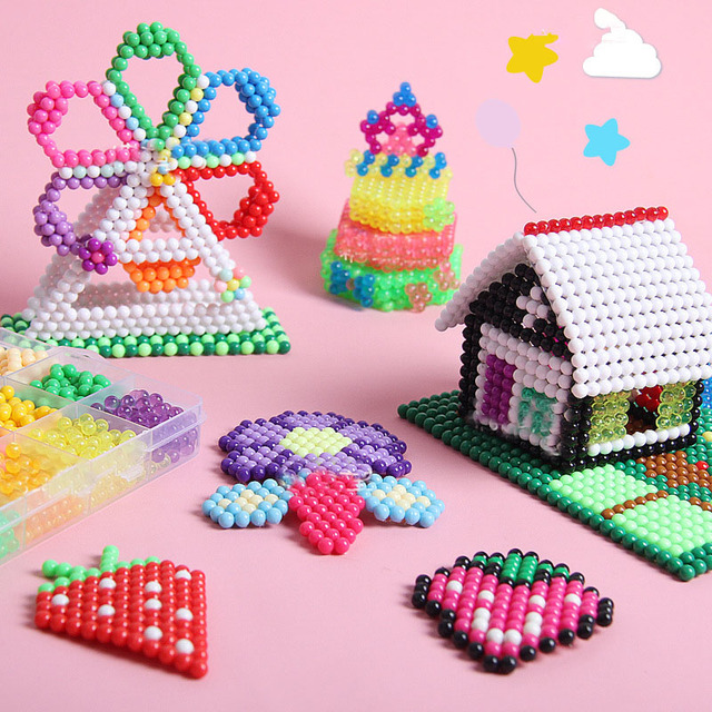 Children Beads Crafts DIY Puzzle Creative Magic Water Spray Sticky Bead Set Pegboard Kit Accessories Girls Gift Educational Toys