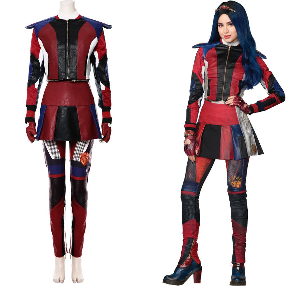 Disney Descendants 3 Evie Cosplay Costume Adult /& Kid/'s Outfit Suit Full Set