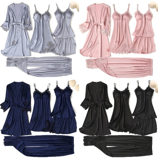 Satin Touch Pajama Set With Lace Trim 4