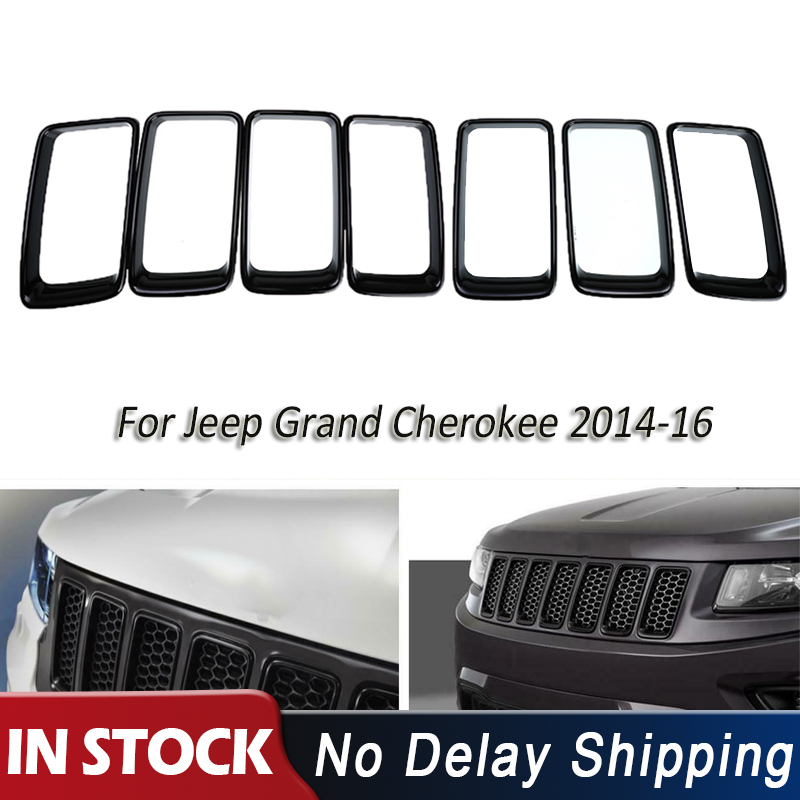 for 2014-2016 2015 Jeep Grand Cherokee Front Bunper Lower Fascia Panels Trim Honeycomb Grille Insert Cover Left and Right Side
