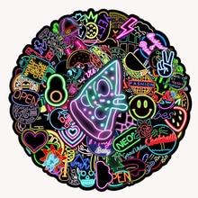 10/30/50/100PCS Cartoon Neon Light Graffiti Stickers DIY Car Phone Laptop Luggage Bike Guitar Cool Waterproof Sticker Kids Toys