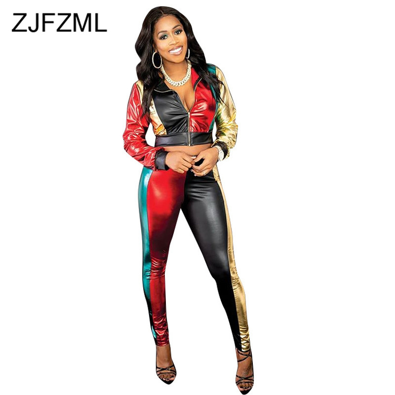 Contrast Color PU Leather Sexy 2 Piece Track Suit Women Turn Down Collar Long Sleeve Zipper Crop Coat + Long Pants Matching Set