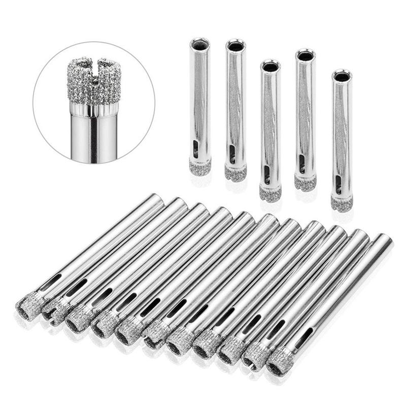 New Glass Drill Hole Saw 15 Pieces Diamond Hole Saw Diamond Drill Remover Tools Hollow Core Tile Drill For Glass, Ceramic, Grani
