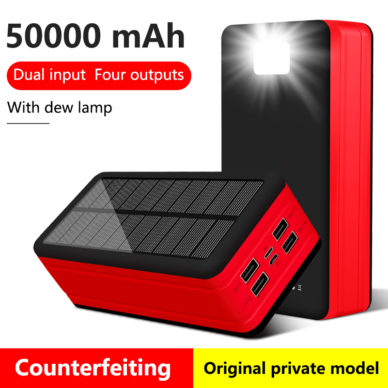 <font><b>Solar</b></font> <font><b>Power</b></font> <font><b>Bank</b></font> <font><b>50000mAh</b></font> Portable Mobile Phone Charger For iPhone 11 Samsung S8 Xiaomi Powerbank with LED Light 4 USB Poverbank image