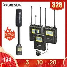 Saramonic uwmic9 transmissão uhf câmera sem fio sistema de microfone de lapela transmissores + um receptor para dslr filmadora