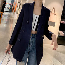 Double Breasted Office Lady Blazer Jacket Solid Notched Collar Pocket Female Jackets Fashion Suits Outwear For Women(China)