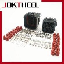 1/5/10/20 conjuntos kit preto à prova dwaterproof água fio elétrico auto cabo sumitomo 16 pinos forma macho fêmea conector plug 6188-0353 6085-0510
