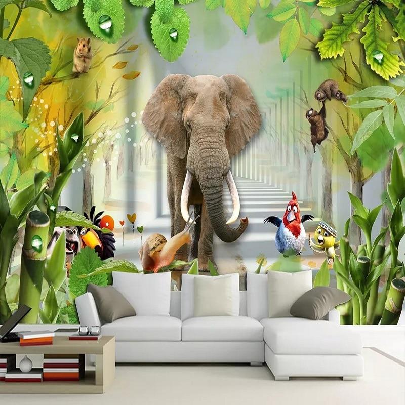 New Custom Large Mural 3D Wallpaper Cute Cartoon Animals 1 Baby  Children's Bedroom Mural TV Back Wall Decor Deep 5D Embossed