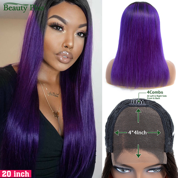 Ombre Purple Straight Lace Closure Wig Human Hair Wigs For Black Women 150% Density Brazilian Remy Hair Lace 4x4 Closure Wigs