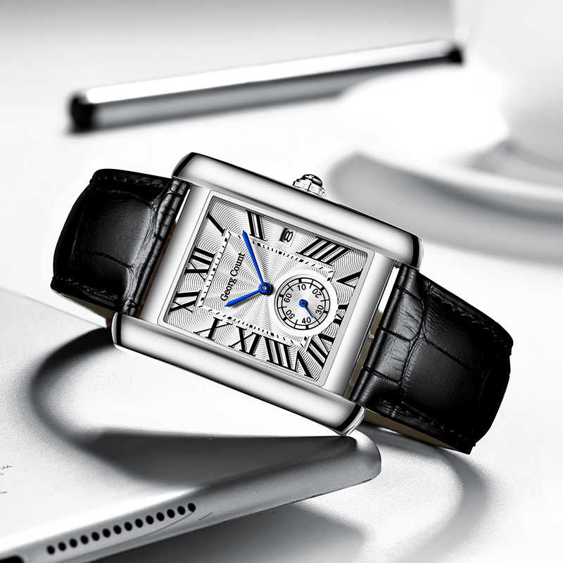 Fashion Lovers Watches Men Women Casual Leather Strap Quartz Watch Elegant Squar Retro Roman Numeral Scale Couple Watch Clock