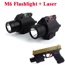 Military Pistol Laser M6 LED Flashlight + Red / Green Laser Sight For 20mm Rail Tactical Hunting Airsoft Laser Sight Scope security equipment green laser sight and led tactical flashlight combo for hunting