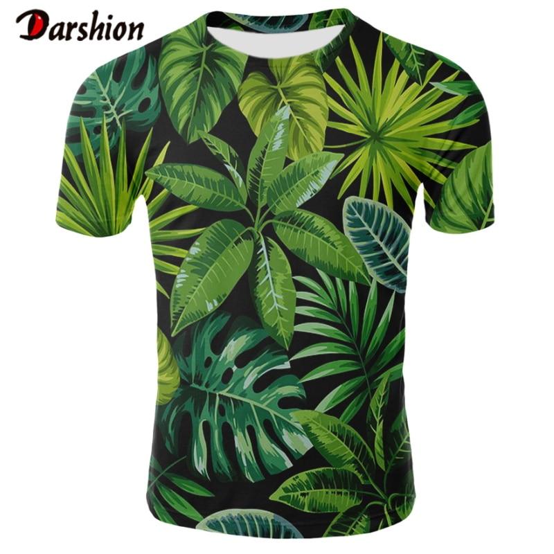 3D Banana Leaf Print Green Tshirts Men Summer Hawaiian Seaside Holiday Style Male Casual Tops Clothes Boho Beach TShirt Plus 4XL