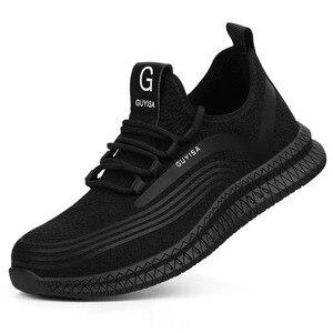 Image 2 - Męskie buty robocze bhp mężczyźni stal zewnętrzna Toe obuwie wojskowe bojowe botki niezniszczalne stylowe oddychające sneakersy