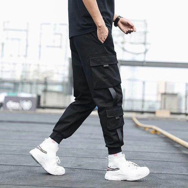 Pantalones Cargo de harén con bolsillos laterales para hombre, pantalón negro de Hip-Hop, informal, a la moda, ropa de calle, 2020 cintas 3